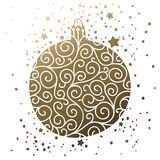 Merry Christmas and Happy New Year card. With shine ball on white background. Gold christmas card Stock Photo