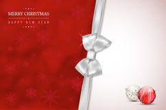 Merry Christmas and Happy New Year card with silver bow Stock Images