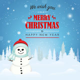 Merry Christmas and Happy New Year card with smiling snowman Royalty Free Stock Photo