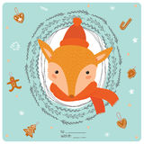 Merry Christmas and Happy New 2016 Year Card. With Happy Smiling Xmas Fox in knittet hat and scarf in a circle wreathe of brunches on Blue Background. Greeting Stock Images