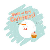 Merry Christmas and Happy New 2017 Year Card. With Happy Smiling Xmas White Snowman with Greeting Wish on Blue and White Background. Greeting holidays lovely Royalty Free Stock Photos