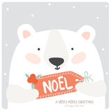 Merry Christmas and Happy New 2016 Year Card. With Happy Smiling Xmas White Teddy with Greeting Noel Label on Grey Background. Greeting holidays lovely card Stock Images