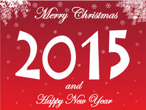 Merry Christmas and Happy New Year card with snow Stock Photos
