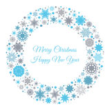 Merry Christmas and Happy New Year card with  snowflakes. Merry Christmas and Happy New Year card with blue and gray snowflakes. Vector illustration for Stock Images