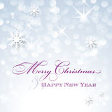 Merry Christmas and Happy New Year card with snowflakes Royalty Free Stock Photography