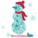 Merry Christmas and Happy New Year card with snowman from snowflakes Royalty Free Stock Photos