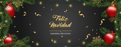 Christmas card of pine tree ornaments in spanish stock illustration
