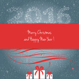 Merry christmas and happy New year 2016. Card, stars and gifts, vector Royalty Free Stock Image