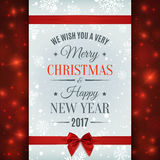 Merry Christmas and Happy New Year 2017 card. Merry Christmas and Happy New Year 2017 text label on a winter background with red bow, ribbon, snow and vector illustration