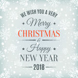 Merry Christmas and Happy New Year 2018 card. Royalty Free Stock Photography