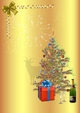Merry Christmas and Happy New Year. Card with a Christmas tree on a gold background, and with fireworks, all elements separate, with symbol 2015 goat Stock Photo