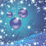 Merry Christmas and Happy New Year Card. Merry Christmas and New Year Typical in the background of a brilliant Christmas with a winter landscape with snowflakes Stock Photo
