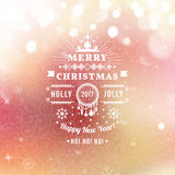 Merry Christmas and Happy New Year card. Christmas typographic message. Vector bokeh background, festive defocused lights, snowflakes, text Stock Images