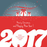 Merry Christmas and Happy New Year 2017. Card, vector Royalty Free Stock Image