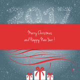 Merry Christmas and Happy New Year 2017. Card, vector Stock Photos