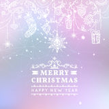 Merry Christmas and Happy New Year card. Vector blurry background. Hanging Christmas decorations with toys, gift Stock Photography