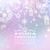 Merry Christmas and Happy New Year card. Vector blurry background. Hanging Christmas decorations with toys, gift. Stocking, snowflake and bird vector illustration