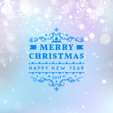 Merry Christmas and Happy New Year card. Vector bokeh background, festive defocused lights. Snowflakes, lights vector illustration