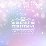 Merry Christmas and Happy New Year card. Vector bokeh background, festive defocused lights, snowflakes, lights.  royalty free illustration