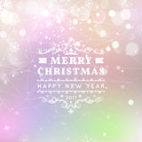 Merry Christmas and Happy New Year card. Vector bokeh background, festive defocused lights, snowflakes, lights royalty free illustration