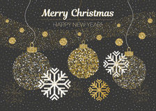 Merry Christmas and Happy New Year card. Vector golden glittering christmas balls, snow, snowflakes on black background Royalty Free Stock Photos