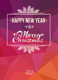 Merry Christmas and Happy New Year Card. Vector greeting card with letters and Christmas items Royalty Free Stock Photos