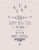 Merry Christmas and Happy New Year Card. Royalty Free Stock Image