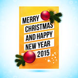 Merry Christmas and Happy new year 2015 card. Vector illustration Royalty Free Stock Photo