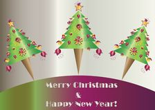 Merry Christmas and happy new year card vector with Christmas trees. Purple and green colors royalty free illustration