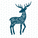 Merry Christmas and Happy New Year card with vintage deer. Merry Christmas and Happy New Year card with hand drawn vintage deer. Calligraphy inscription. Holiday vector illustration