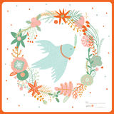 Merry Christmas and Happy New 2016 Year Card. Vintage Merry Christmas And Happy New Year card with flowers and winter dove. Greeting stylish illustration of Stock Photo
