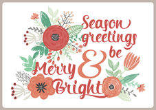 Merry Christmas and Happy New 2016 Year Card. Vintage Merry Christmas And Happy New Year Card with Winter Fowers and Holidays Wish. Greeting stylish illustration Stock Photos