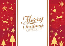 Merry Christmas and happy new year card - white banner text  and Christmas icon on red background vector design Royalty Free Stock Photography