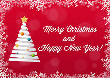 Merry Christmas and Happy New Year card - white on red backgroun Royalty Free Stock Photography