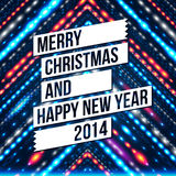 Merry Christmas and Happy New Year 2014 card. White ribbon, blue shiny background. Vector image Stock Photos