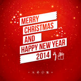 Merry Christmas and Happy New Year 2014 card. White ribbon, red background. Vector image Royalty Free Stock Photography