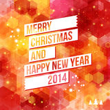 Merry Christmas and Happy New Year 2014 card. White ribbon, red background. Vector image Stock Image