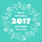 Merry Christmas and Happy New Year 2017 card. With winter holidays doodles on snowy background stock illustration