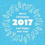 Merry Christmas and Happy New Year 2017 card Royalty Free Stock Images