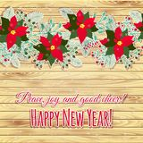 Merry Christmas and Happy New Year Card. Wood background vector illustration