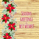 Merry Christmas and Happy New Year Card. Wood background Stock Photos
