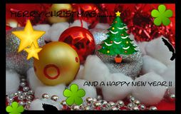 Merry Christmas and a happy new year Cards Royalty Free Stock Images