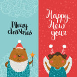 Merry Christmas and Happy New year cards. With cute animals, bear, monkey and Typographic Wish. Set of printable Greeting cards Royalty Free Stock Photos