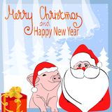 Merry Christmas and Happy New Year. Cartoon funny characters Santa Claus and pig in santa hat. Stylized numbers 2019 royalty free illustration