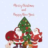 Merry Christmas and Happy New Year. Cartoon greeting card with t vector illustration