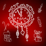 Merry Christmas and happy new 2016 year cartoon icons. With clock, fireworks, sweets and holiday attributes. Set of outline white illustrations on red abstract Royalty Free Stock Photo