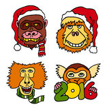 Merry Christmas and Happy New 2016 Year cartoon icons with monkeys. Set of bright and colorful vector illustrations on white background. Chinese lunar calendar Royalty Free Stock Photos