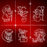 Merry Christmas and happy new 2016 year cartoon icons. Christmas and happy new 2016 year cartoon icons with Santa Claus, owl, snowman, Christmas tree, presents royalty free illustration