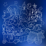 Merry Christmas and happy new 2016 year cartoon outline postcard Royalty Free Stock Photo