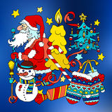 Merry Christmas and happy new 2016 year cartoon postcard Royalty Free Stock Images